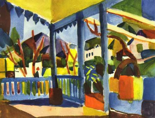 August Macke - Terrace of the villa in St. Germain