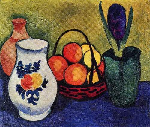 August Macke - White jug with flowers and fruits