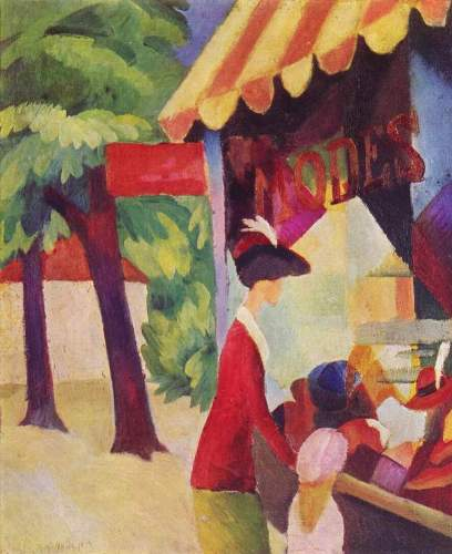 August Macke - Woman with a red jacket and child