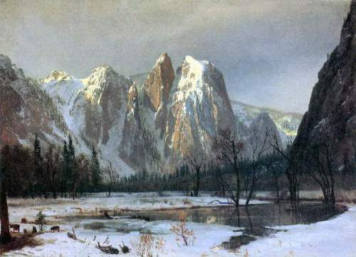 Bierstadt - Cathedral Rocks, Yosemite by  Bierstadt