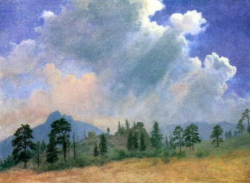 Bierstadt - Fir trees and storm clouds