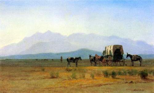 Bierstadt - The stagecoach in the Rockies