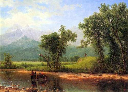 Bierstadt - Wind River Mountains, landscape in Wyoming