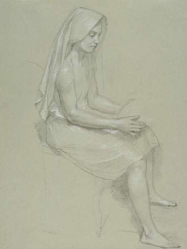Bouguereau - Study of a Seated Veiled Female Figure 19th Century