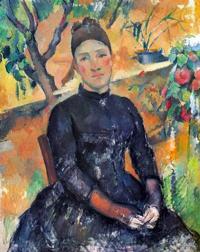 Cezanne - Portrait of Mme Cezanne in the greenhouse