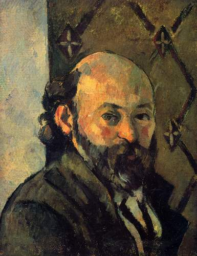 Cezanne - Self-portrait in front of wallpaper