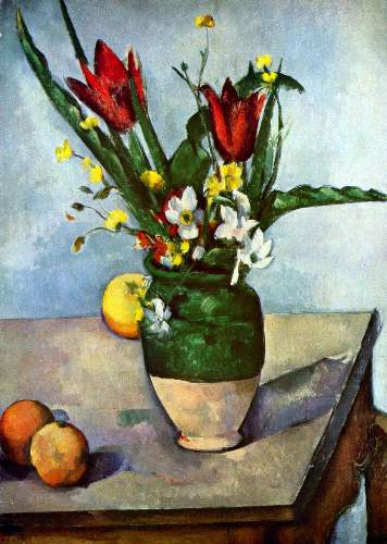 Cezanne - Still Life, Tulips and Apples