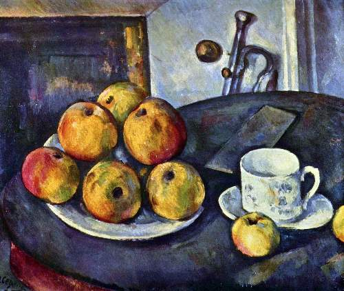 Cezanne - Still life with a bottle and apple cart