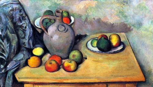 Cezanne - Still life, pitcher and fruit on a table