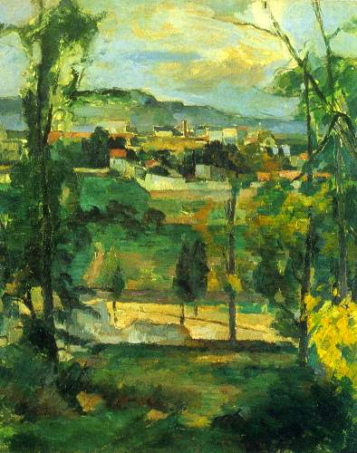 Cezanne - Village behind the trees, Ile de France