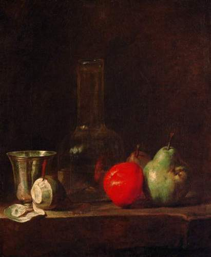 Chardin - Still life with glass bottle and fruits