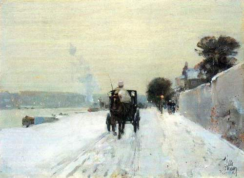 Childe Hassam - Along the Seine, Winter