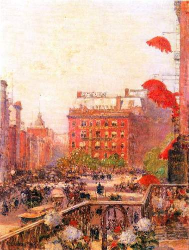 Childe Hassam - Broadway and Fifth Avenue