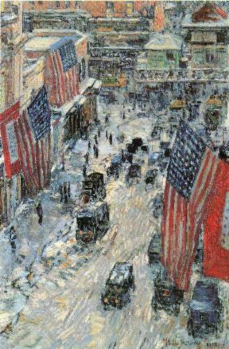 Childe Hassam - Flags on Fifth Avenue, Winter 1918