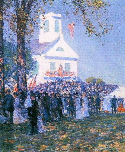 Childe Hassam - Harvest in a village in New England