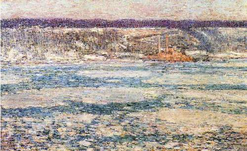 Childe Hassam - Ice on the Hudson River