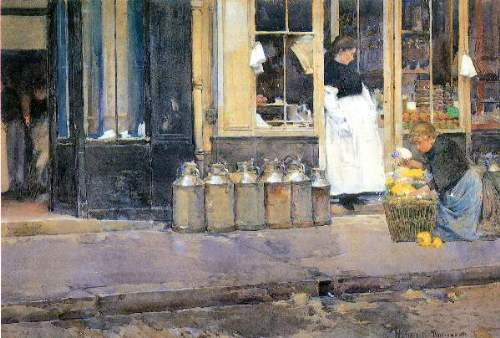 Childe Hassam - The flower girls and the milk vendor