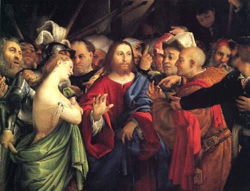 Christ and the adulteress by Lotto