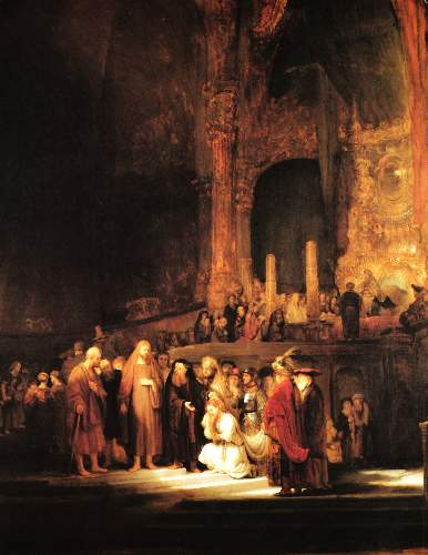 Christ and the adultress by Rembrandt
