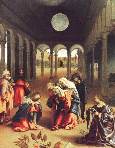 Christ bids farewell to his mother by Lotto