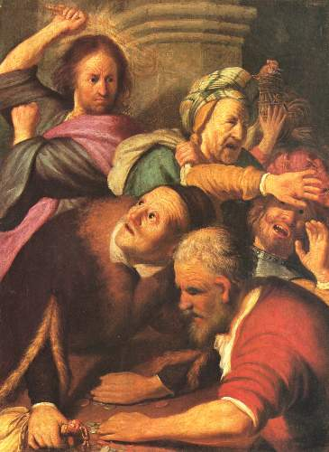Christ drives out money changers by Rembrandt
