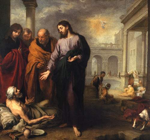 Christ heals the paralytic by Murillo