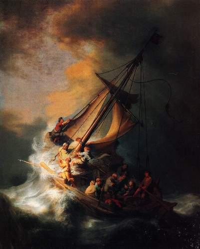 Christ in the storm on the lake Genezareth by Rembrandt