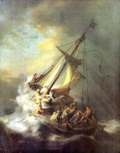 Christ in the storm on the lake of Galilea by Rembrandt