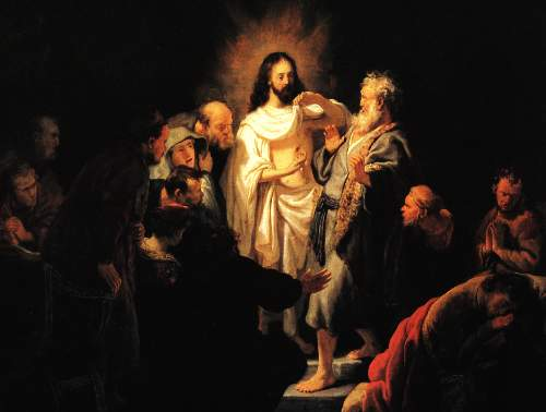Christ shows his wound by Rembrandt