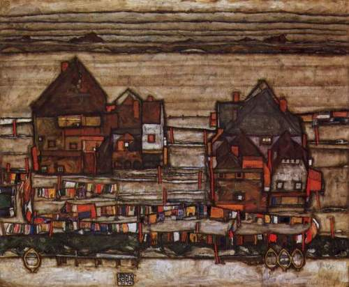 Egon Schiele - Houses with laundry lines and suburban