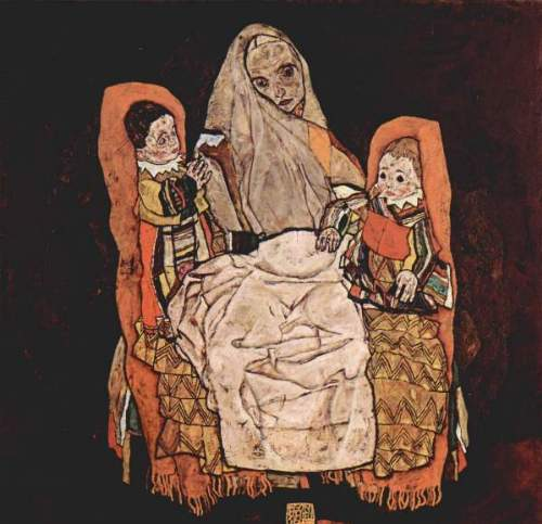 Egon Schiele - Parent with two children (the mother)