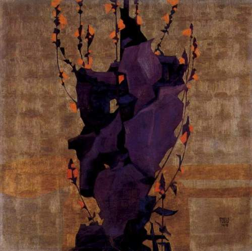Egon Schiele - Stylized floral before decorative background, style of life
