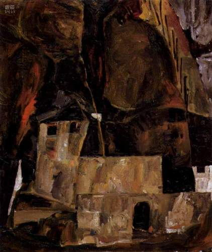 Egon Schiele - Wall and house and terrain with fence
