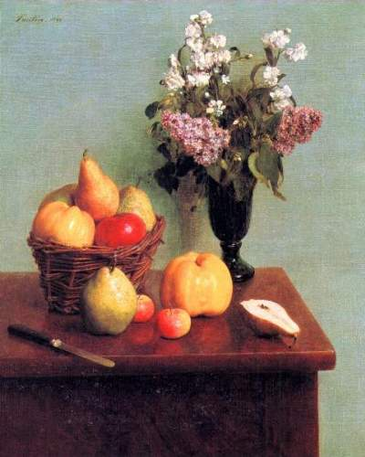Fantin-Latour - Still life with flowers and fruits
