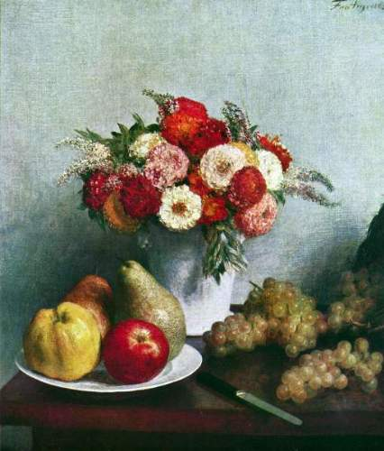 Fantin-Latour - Still-life with flowers and fruit