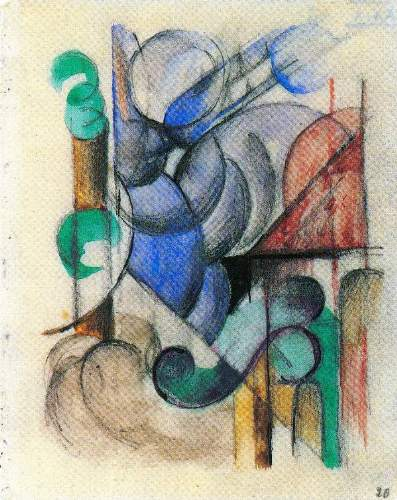 Franz Marc - House in abstract landscape