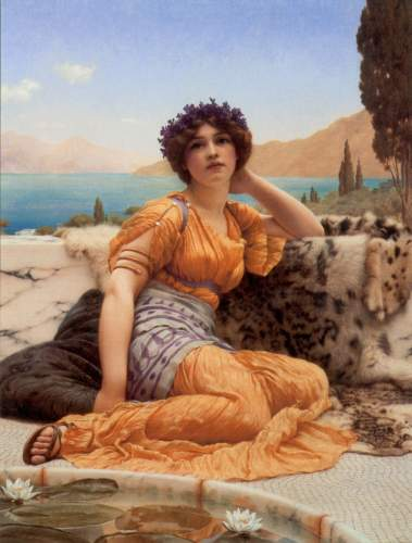 Godward - With Violets Wreathed and Robe of Saffron Hue