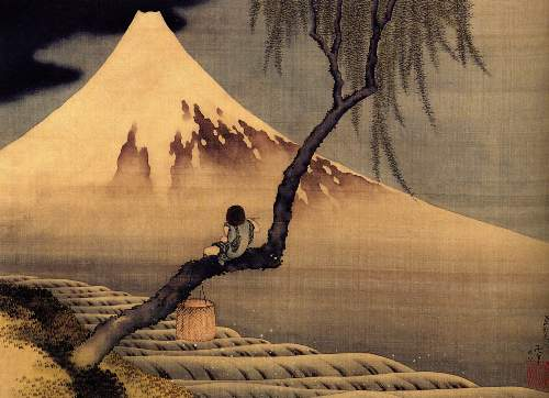 Hokusai - Boy in front of Fujiama