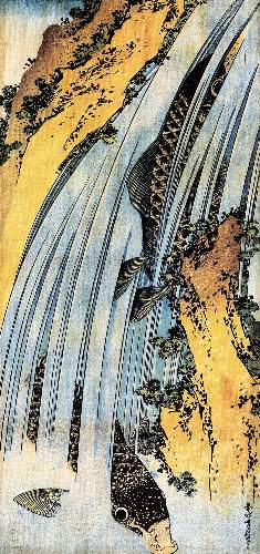 Hokusai - Carps ascending waterfall