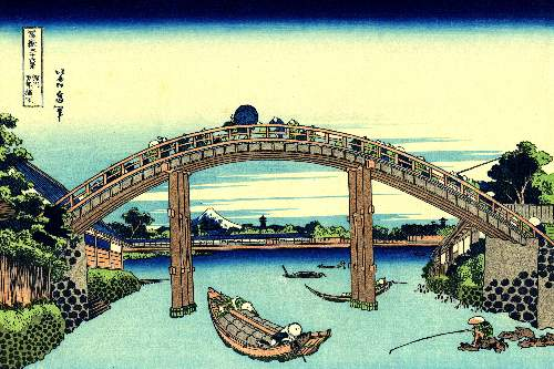 Hokusai - Fuji seen through the Mannen bridge