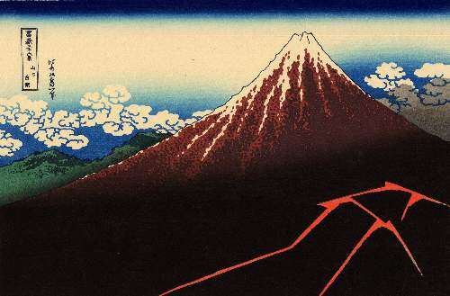 Hokusai - Lightning below the summit