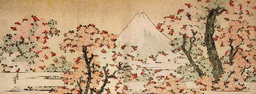 Hokusai - Mount Fuji behind cherry trees and flowers