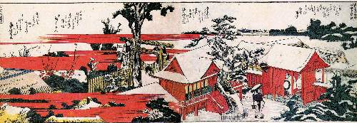 Hokusai - Red houses