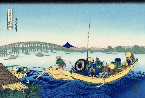 Hokusai - Sunset across the Ryogoku bridge