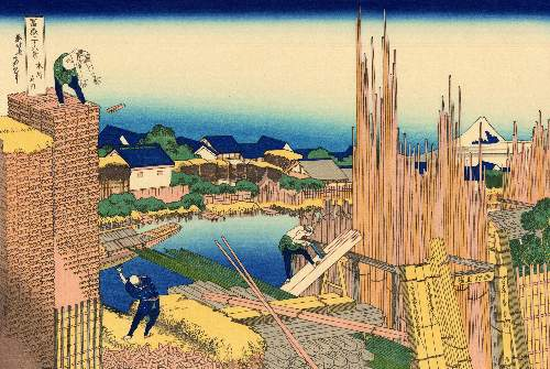 Hokusai - The timberyard at Honjo