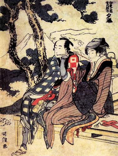 Hokusai - Traveling couple