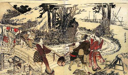 Hokusai - Village near a bridge
