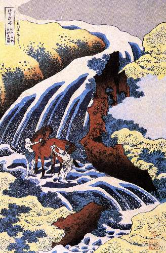 Hokusai - Waterfall and horse washing