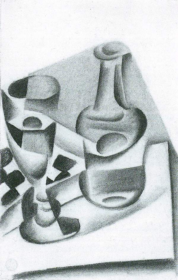 Juan Gris - Carafe, glass and chessboard