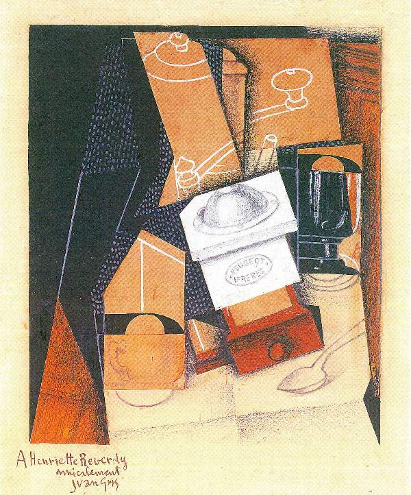Juan Gris - Coffee grinder, cup and glass on a table
